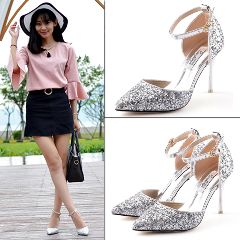 Sequined high heels shoes bridesmaid shoes fine with pointed shoes female summer fashion sexy hollow word buckle sandals shoes small yards 32