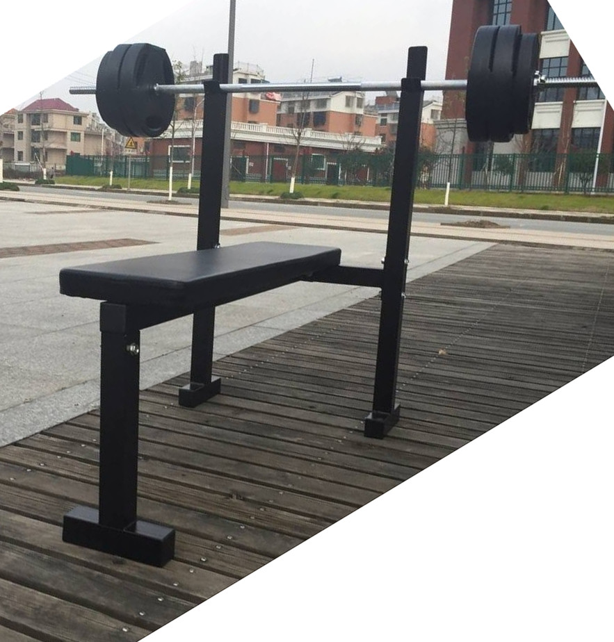 Set flat horizontal push push frame weightlifting bench press rack barbell rack simple weightlifting bed bench press barbell barbell fitness equipment packages