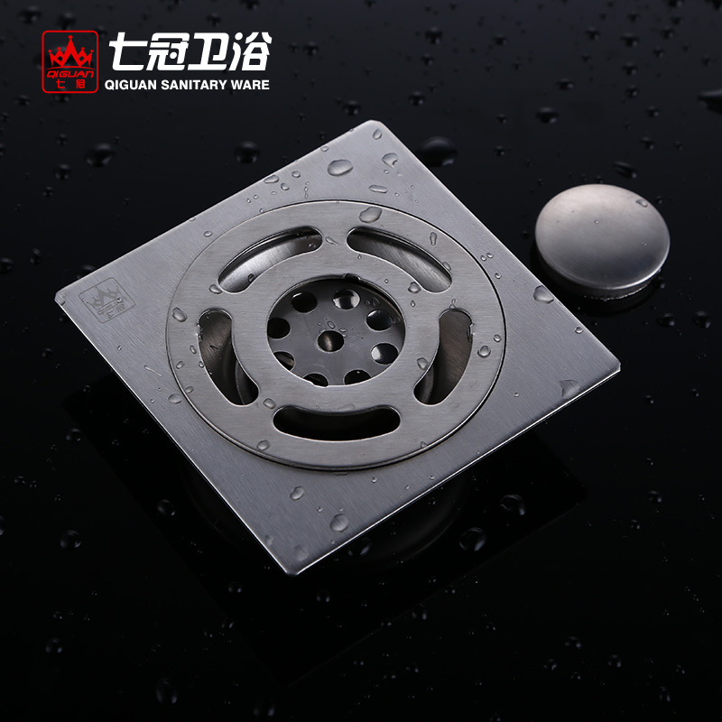Seven crowns bathroom 304 stainless steel bathroom balcony bathroom floor drain odor large displacement washing machine square