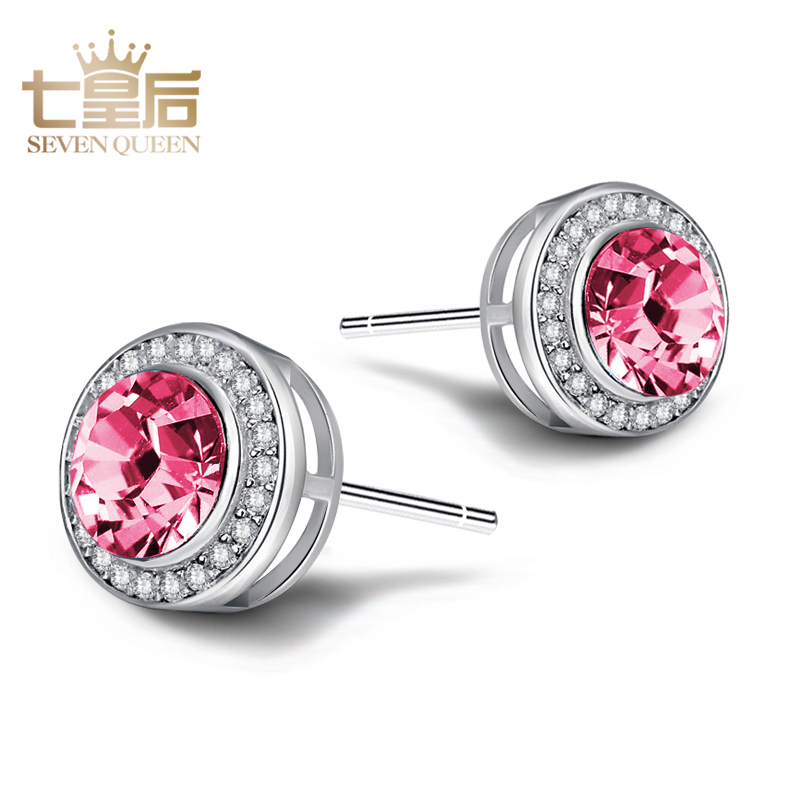 Seven queens s925 silver hypoallergenic earrings earrings japan and south korea super flash austrian state pink crystal earrings female korean temperament