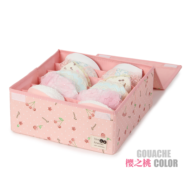 Seven show bra storage box 6 grid covered storage box heightening increase washable underwear storage box storage box finishing box