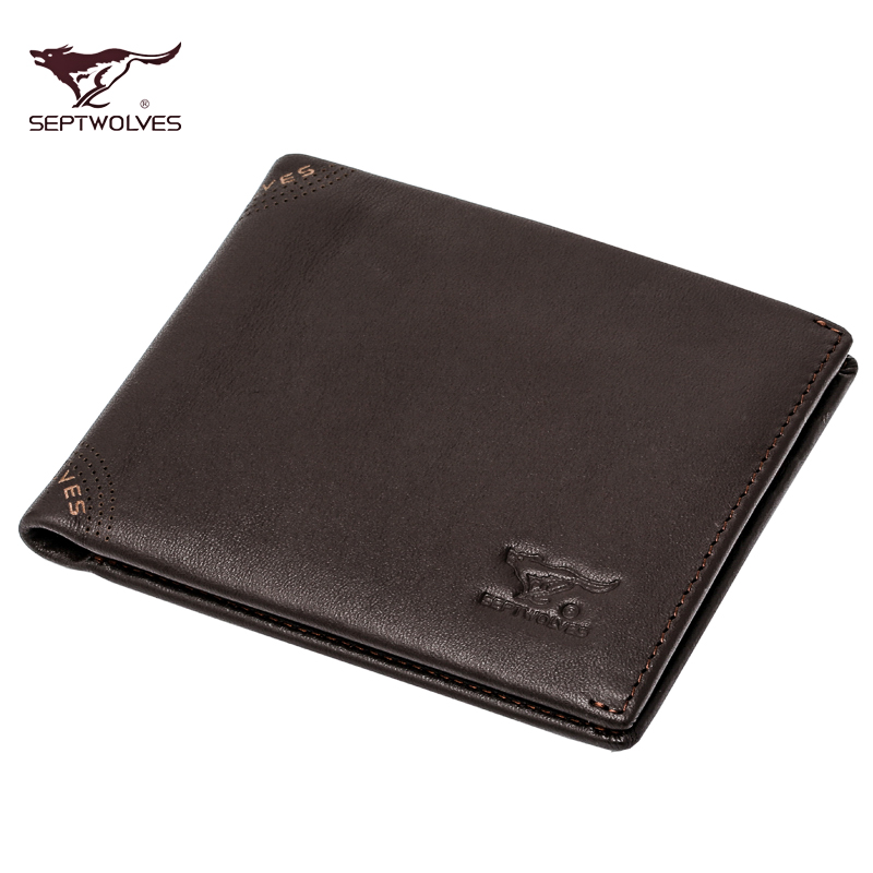 Seven wolves genuine leather wallet men short paragraph men wallet cowhide leather wallet cross section m package