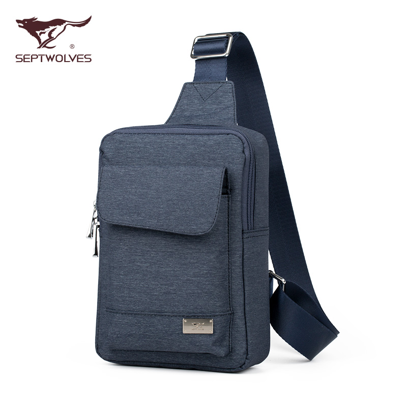 Seven wolves men's chest pack korean version of the influx of young men waterproof oxford cloth shoulder messenger bag small canvas bag chest