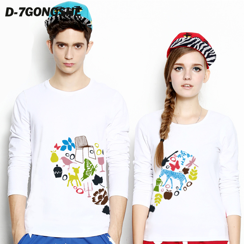 Seventh commune lovers autumn 2016 models love to have you just complete korean couple long sleeve t-shirt tide male