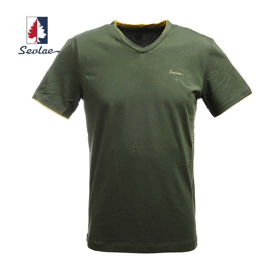 Sevlae/shengfu lai 2016 spring and summer outdoor men's casual solid color short sleeve v-neck t-shirt 9 622946683