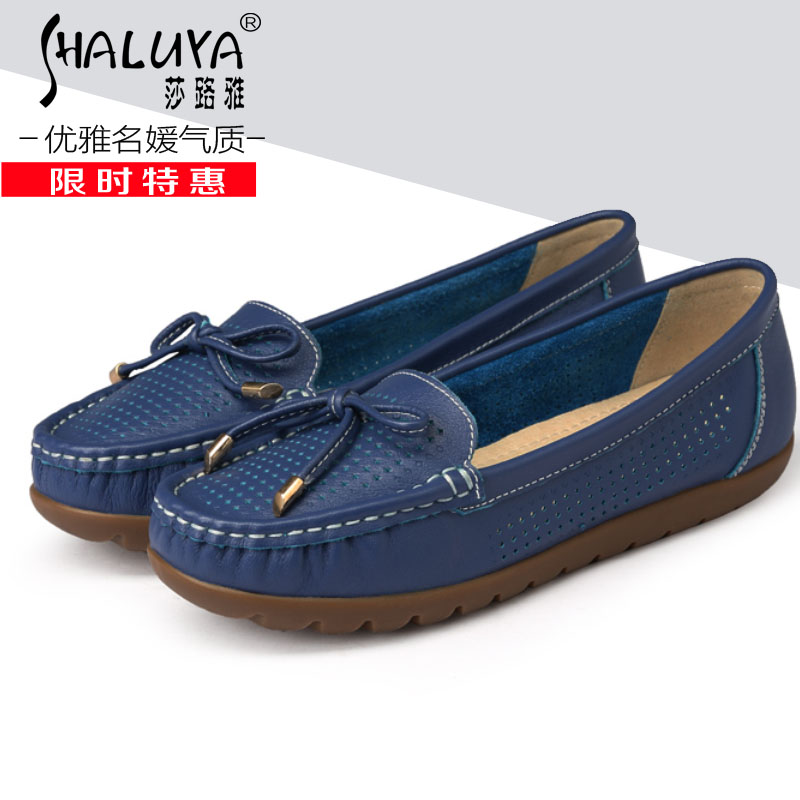 Shalu ya 2015 summer and autumn leather casual shoes women shoes driving shoes soft bottom shoes mom shoes shallow mouth bow flat shoes