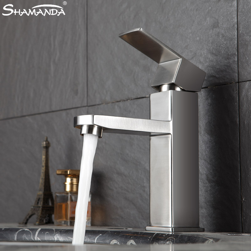 Shaman da unleaded 304 stainless steel brushed basin wash basin faucet single hole hot and cold water basin faucet