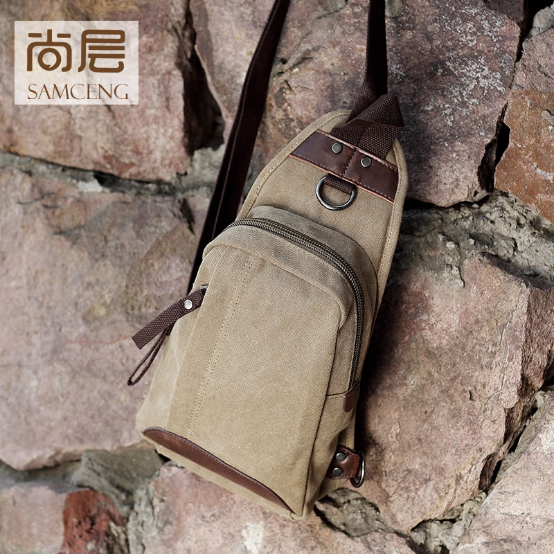 Shang layer 2016 new canvas bag korean version of the trend of casual canvas bag small chest bag messenger bag retro bag tide