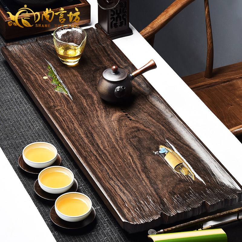 Shang yan fang kung fu tea tray drain inblock ebony wood tea tray tea tray dry foam taiwan tea sets tea sea