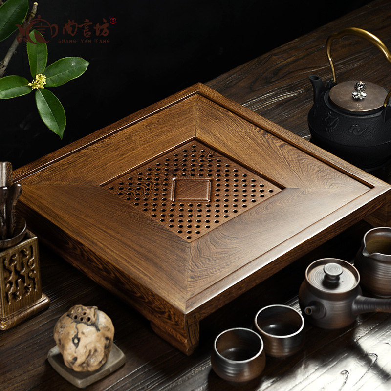 Shang yan fang kung fu tea tray ebony wenge wood tea sea tea sets tea tray drawer tray ebony