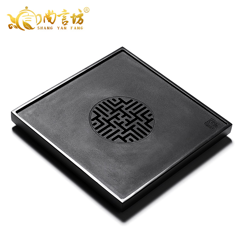 Shang yan fang kung fu tea tray stone black stone tea tray tea tray tea sea hollow longevity stone
