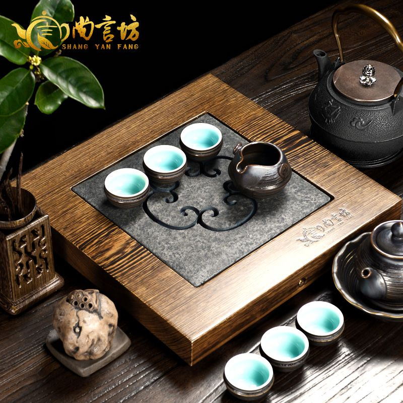 Shang yan fang ugyen stone wood tea tray tea sea tea saucer sets inblock ebony wenge wood kung fu tea tray