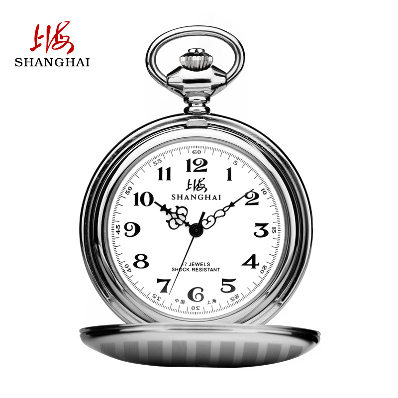 Shanghai watch retro flip pocket manual mechanical watches for men waterproof stainless steel case students live nurse table X633
