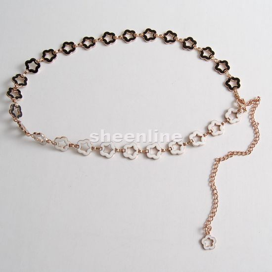 Sheenline korean fashion black and white plum flowers available sided metal thin belt waist chain ladies wild