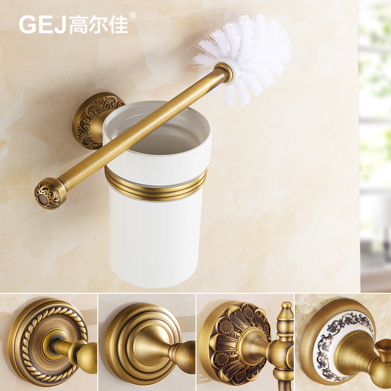Shelves full of antique copper toilet brush toilet suite bathroom toilet brush cup ceramic cup european bathroom toilet toilet toilet brush holder