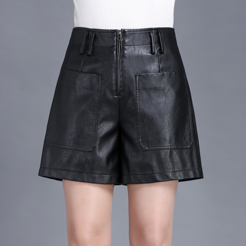 Sheng new pu leather shorts a word wide leg pants new winter high waist leather shorts package hip was thin big yards boots pants shorts