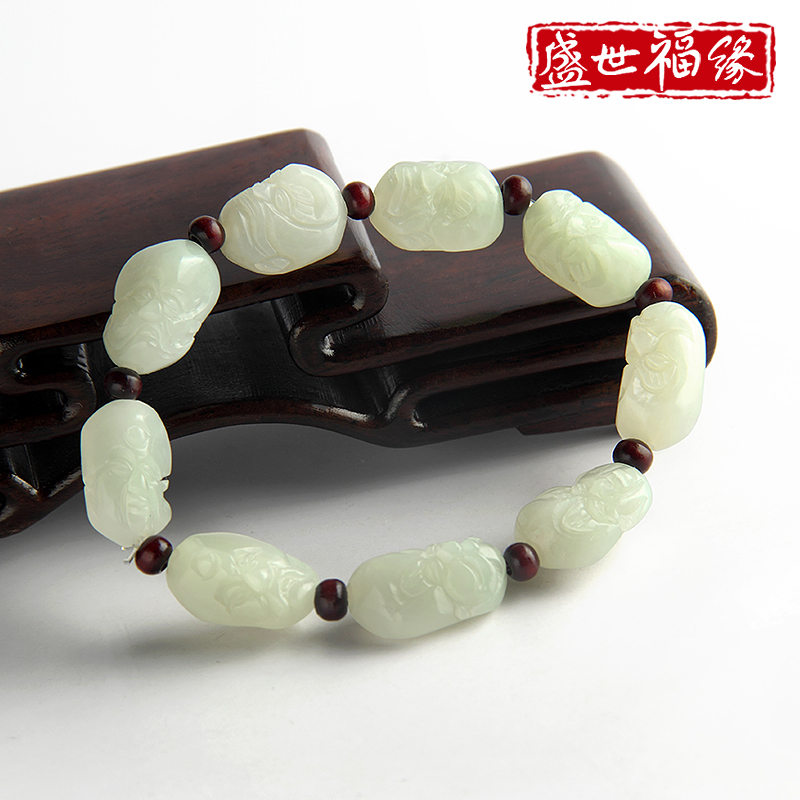 Sheng shifu edge male models suet jade and nephrite jade bracelet natural jade bracelets buddha head buddha carved jade beads shaped