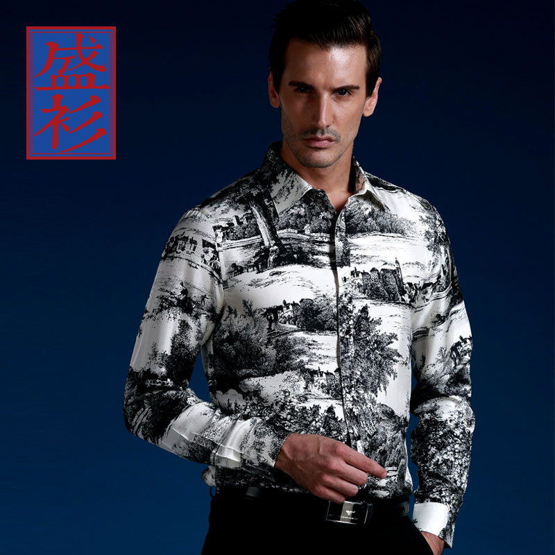 a99abb49e05e Get Quotations · Sheng silk shirt men s sketch impression chinese ink  painting style silk mulberry silk long sleeve men s