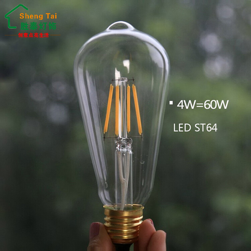 Shengtai retro spiral e27 st64 edison can interface section rised in home super bright led warm yellow light bulb