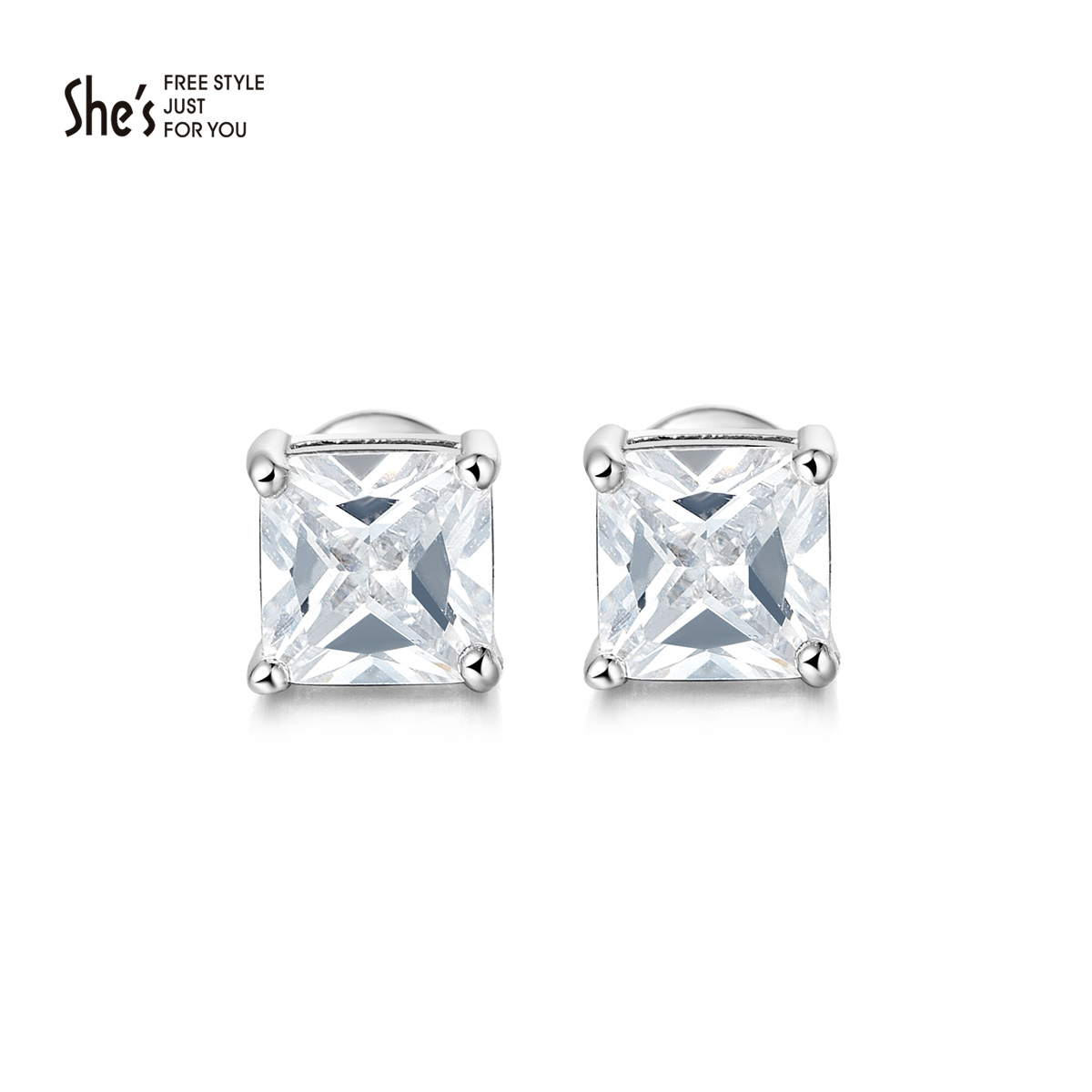 Shes sin child zirconia earrings exquisite small square earrings ear jewelry fashion boutique women