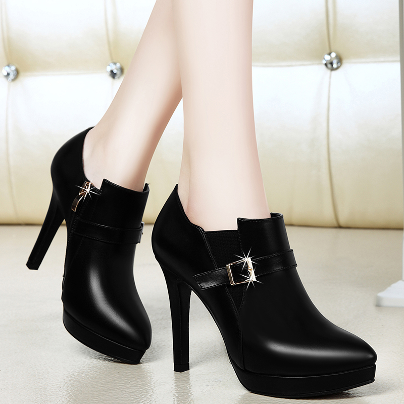 Shield fox 2016 spring new european and american fine with pointed heels shoes wild shoes work shoes casual shoes thick crust