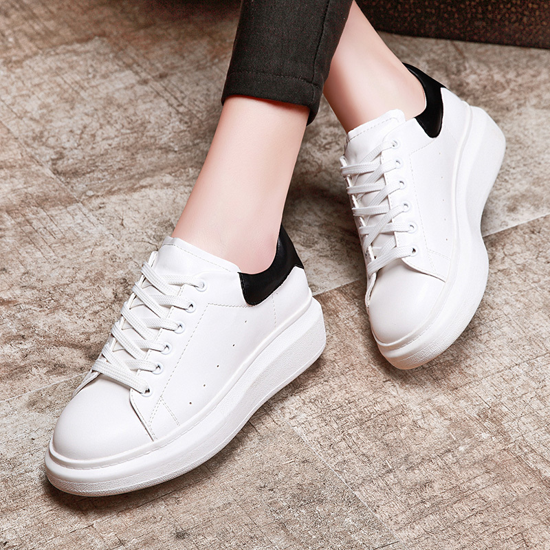 Shield fox 2016 spring new korean version of casual sports shoes women shoes thick crust lace small white shoes flat shoes tide