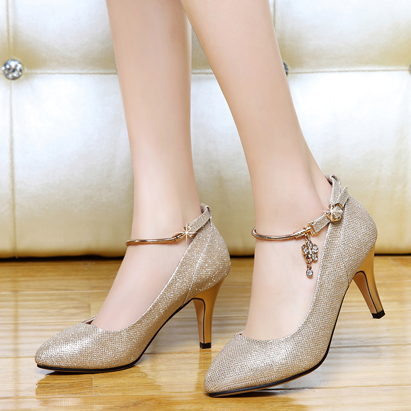 Shield shield fox fox 2016 autumn new high heels fine with single shoes casual shoes shoes ol hundred korean version of the ride shoes