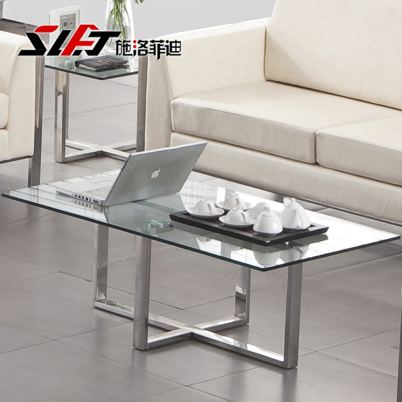 Shiluofeidi office special tempered glass coffee table minimalist modern stainless steel coffee table coffee table parlor office