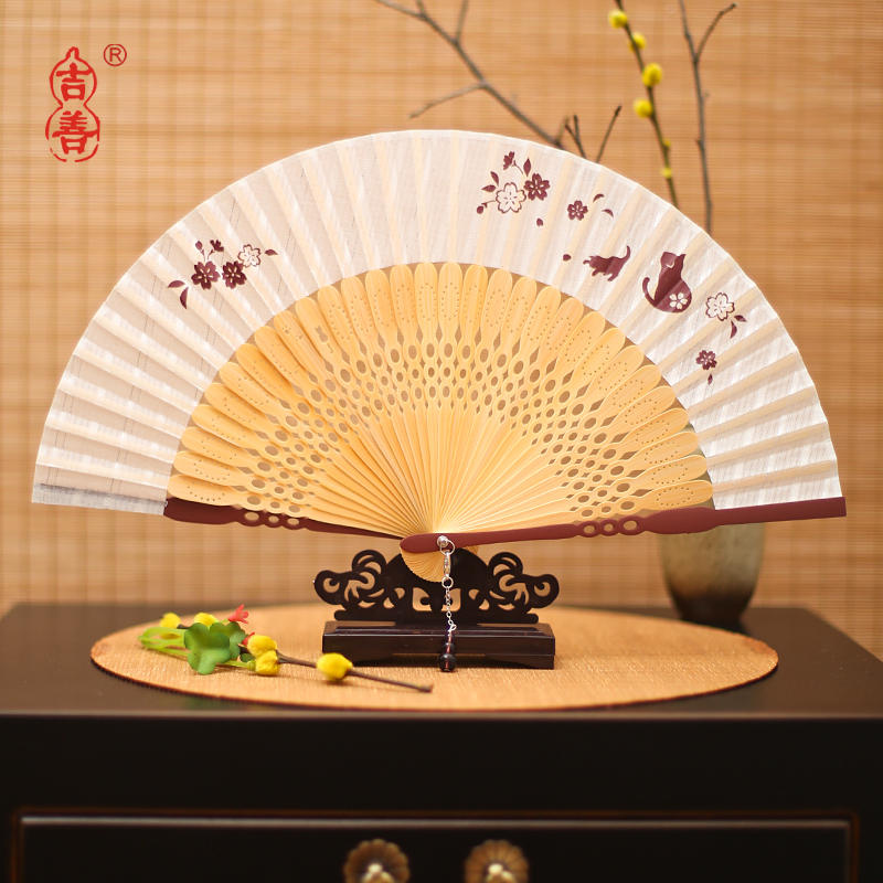 Shin ji fan 6 inch folding fan zhushan female fan cotton hollow bamboo bone fan silk fan craft fan gift fan abroad