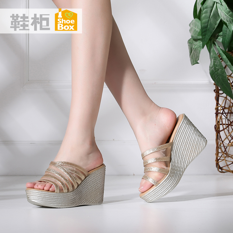 Shoebox shoe 2016 new korean version of summer fashion slope with sandals set foot mesh heels shoes