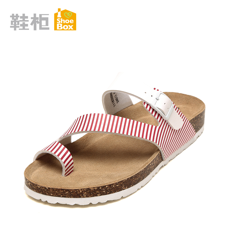 Shoebox shoe toe sandals 2016 summer new korean girls fashion spell color flat sandals and slippers shoes at the end of