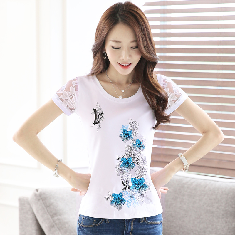 Short sleeve t-shirt female summer korean version of the commuter slim sleeve lace bottoming shirt female pure white cotton t-shirt female