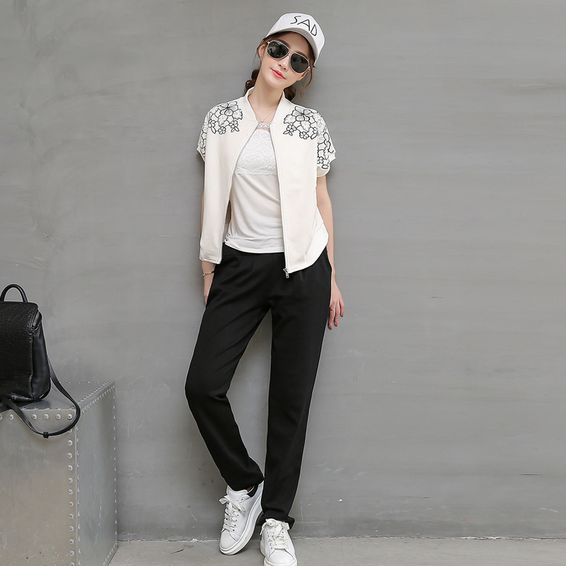 Shorty little early summer summer paragraph summer casual sports suits korean slim suit women's summer and autumn paragraph