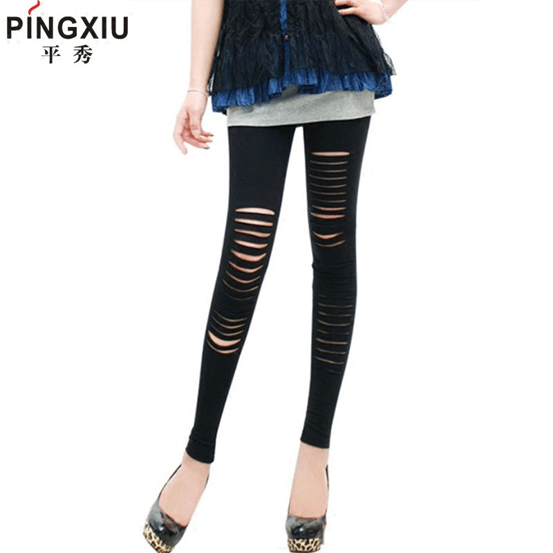 Show flat spring and autumn in europe and america punk style personality wild street handsome hole cotton leggings pantyhose big yards