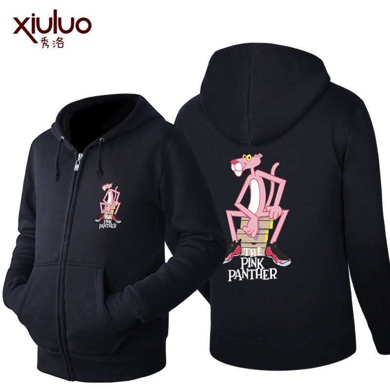 Show luo fashionable korean version of the pink panther luminous lovers male and female models plus velvet spring and autumn zipper sweater coat female