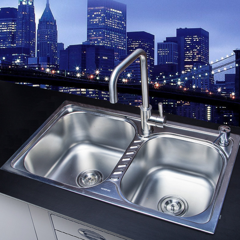 Shuo nigeria bathroom sink kitchen sink stainless steel dual slot vegetables basin kitchen sink thick 2 slot package SN-7645E