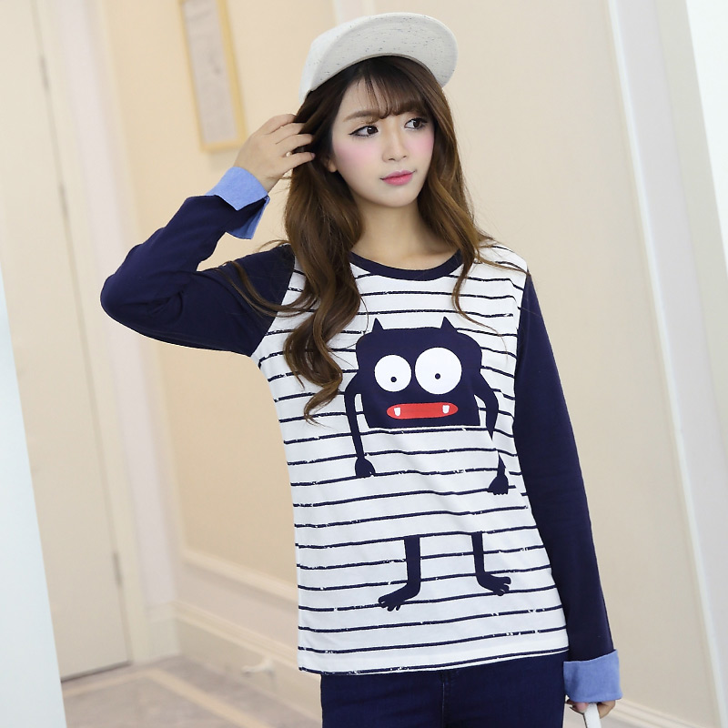 Shuxuer korean version of the cartoon was thin stripe long sleeve 2016 spring new college wind round neck long sleeve t-shirt female tide