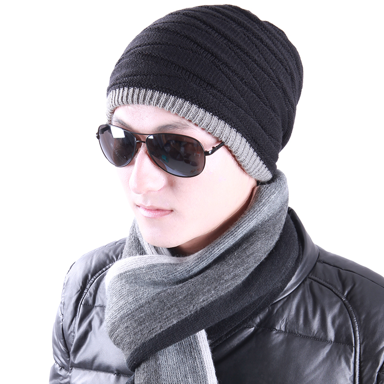 d2e8e5fbc44 Get Quotations · Si dina sided male wearing a winter hat men tide autumn  and winter wool cap hat