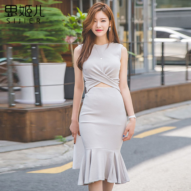 Si ji children 2016 summer new korean version of the simple and elegant fishtail dress ol female fashion exposed belly crowded piece fitted