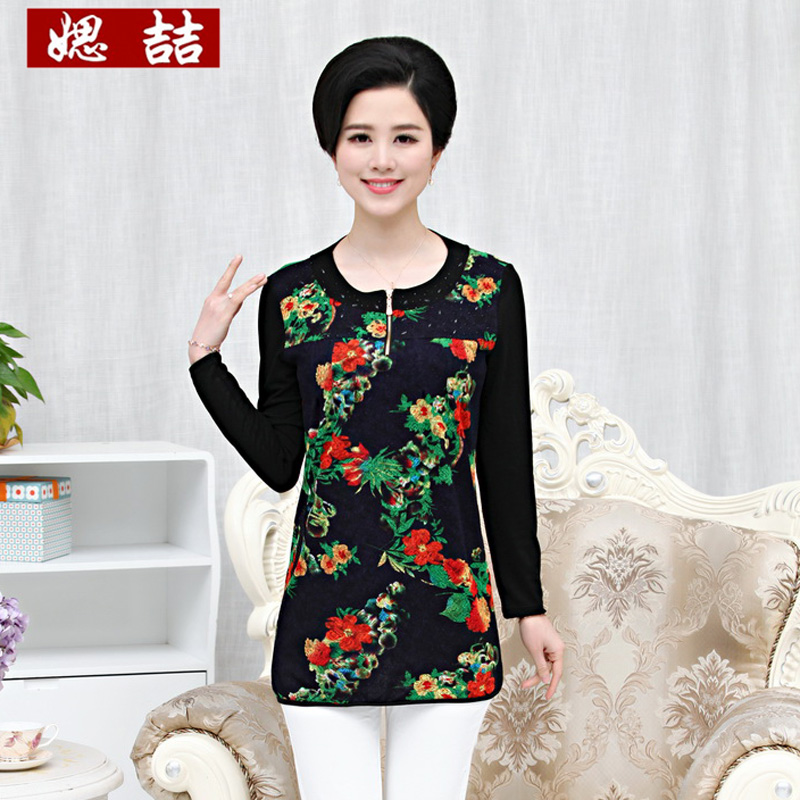 Si zhe mother dress autumn middle-aged middle-aged ladies long sleeve t-shirt fashion shirt big yards 40-50-year-old coat
