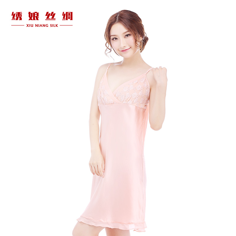 Get Quotations · Silk embroidered mother one lamfor a female dress sexy silk  nightgown silk pink lace summer pajamas 8561e4877