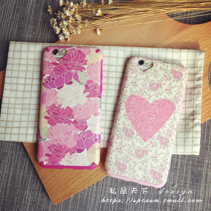 Silk grain leather pu leather soft shell iphone6splus love the whole package silicone phone shell mobile phone shell apple s plastic shell hole pink flowers