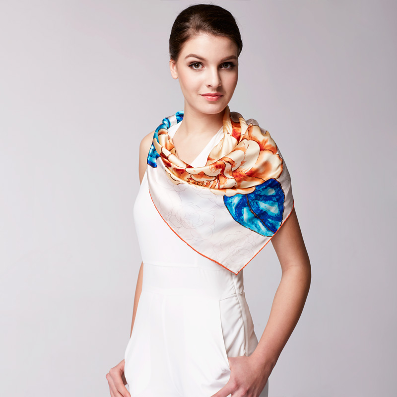Silk scarf female summer long section of the silk industry upscale silk scarf female silk scarf spring scarf female spring models