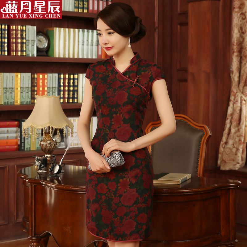 Silk silk cheongsam dress summer fashion cheongsam dress retro improved cheongsam dress 2016 new summer