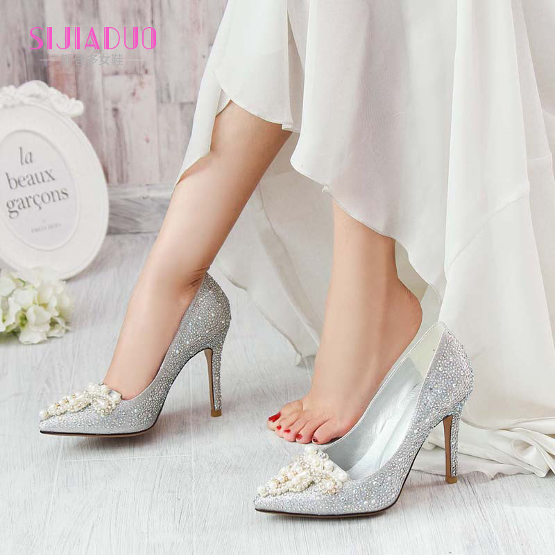 Get Quotations · Silver fine with pointed heels shallow mouth shoes bridal  shoes crystal wedding shoes in europe and 24e8486bdc6f