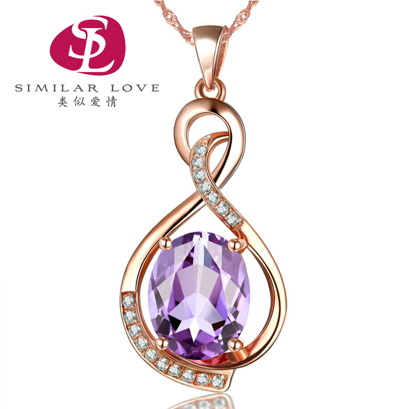 Similar love natural amethyst necklace female short clavicle with jewelry pendant japan and south korea minimalist silver jewelry stone chain
