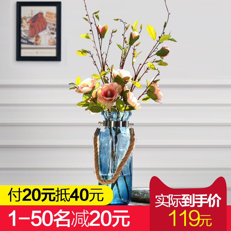 Simple and transparent blue glass vase model room decoration roses floral decoration living room dining table glass