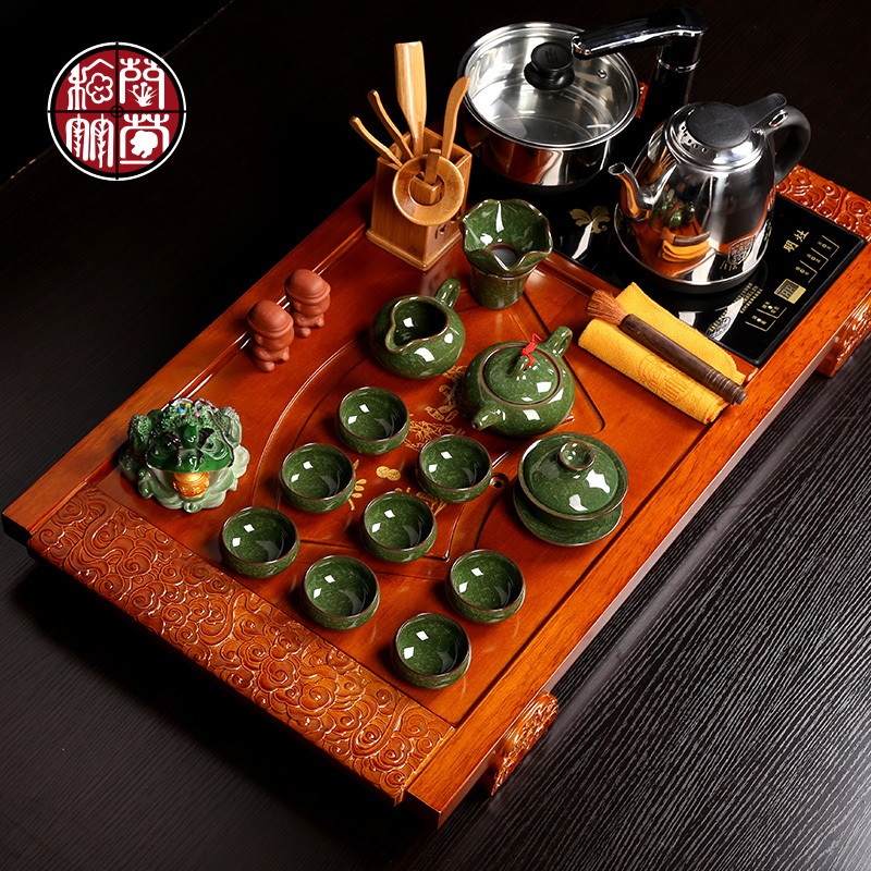 Simple ceramic kung fu tea set tea tea tea bamboo tea tray creative home office tea