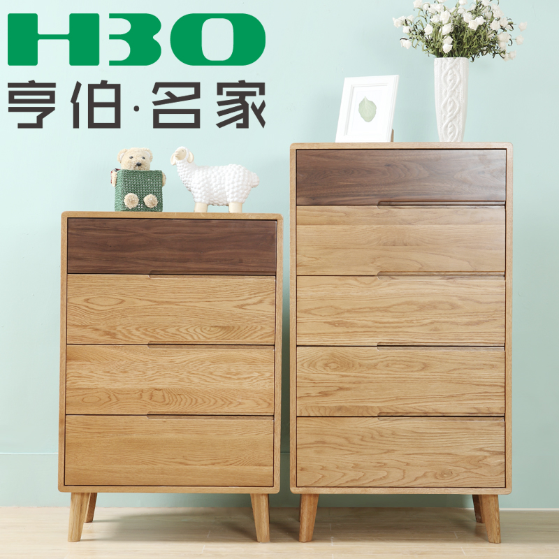 Simple wood furniture solid wood oak chest of drawers three four doo doo cabinet chest of drawers bedroom drawer storage cabinets lockers
