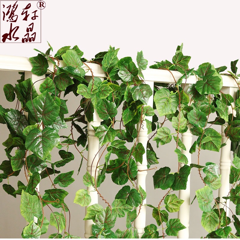 Simulation grape leaf ceiling decoration flower vine simulation fake flower vine leaves green leaves of plants plastic flowers rattan vine article